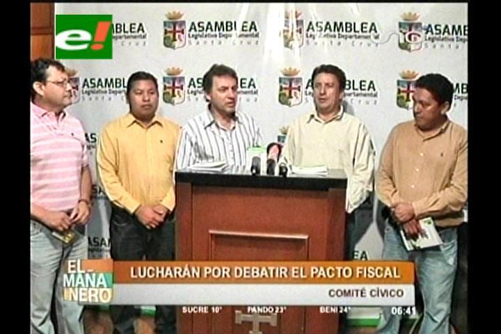 Asambleístas departamentales y cívicos cruceños se unen por el pacto fiscal