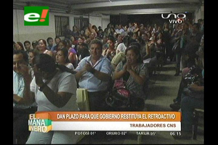 Trabajadores de la CNS dan plazo al Gobierno para que restituya el retroactivo
