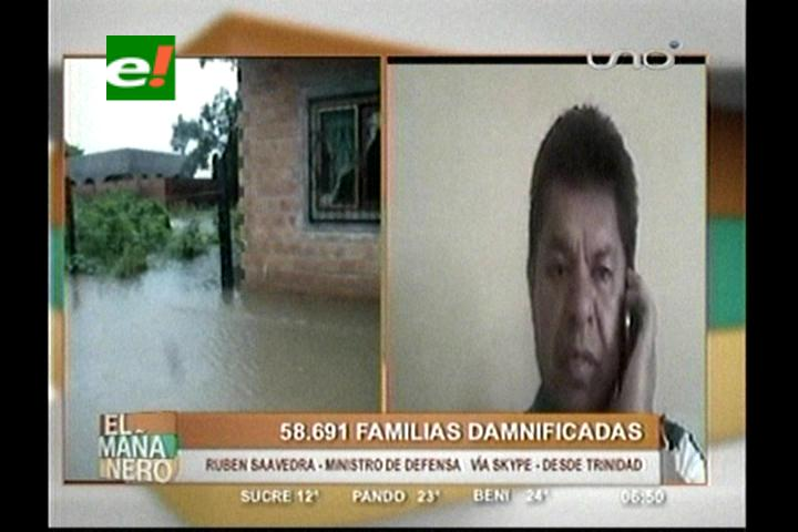 Familias damnificadas por lluvias llegan casi a 60 mil en Bolivia