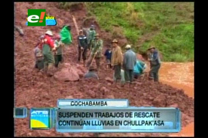 Cochabamba: Suspenden búsqueda de cuerpos en Chullpa