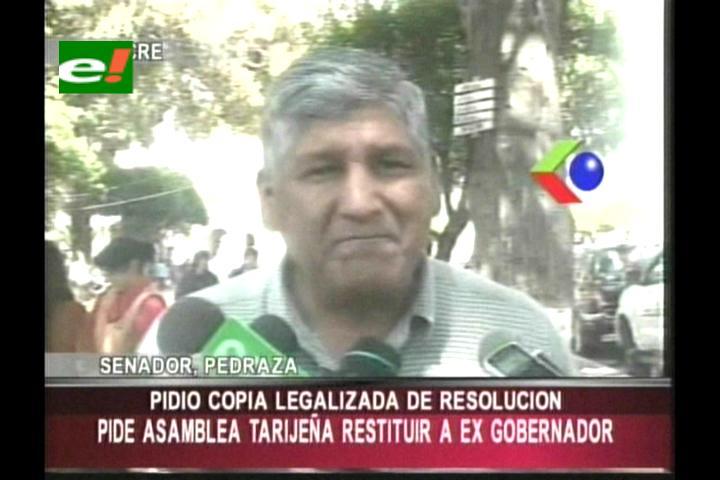 Senador exige a la Asamblea tarijeña restituir a Mario Cossío como Gobernador