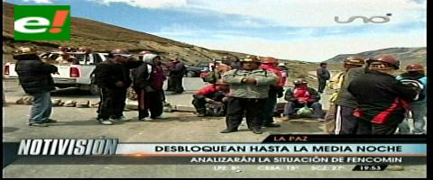 Mineros levantarán los bloqueos de carreteras hasta la medianoche