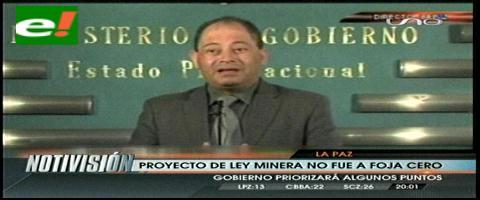 Ministro de Gobierno anuncia que solo se tratarán artículos observados de la ley minera
