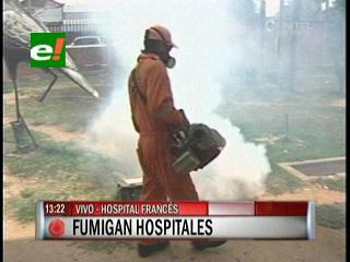 Fumigan hospitales en Santa Cruz