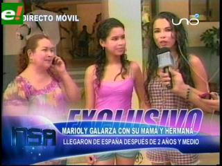 Marioly Galarza nuevamente con su familia