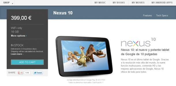Nexus 10 de 16 GB disponible en la Google Play