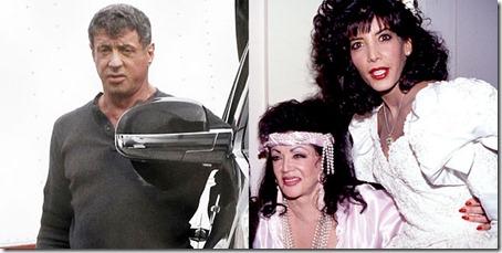 Stallone, en una imagen reciente, y su madre y hermana en los años 90