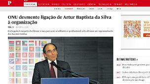 En la imagen, la noticia sobre el desmentido de la ONU en la página de internet del diario portugués Público en la que se ve a Artur Baptista da Silva.