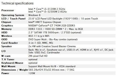 MSI Adora 24 - Especificaciones técnicas