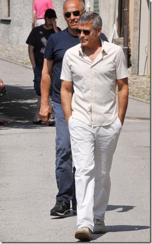 George Clooney with some friends at Lake Como *NO WEB ITALY*