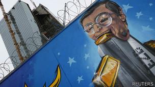 Mural de Mario Draghi, presidente del Banco Central Europeo (BCE)
