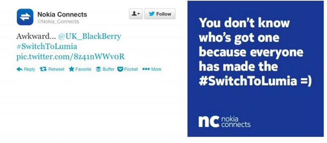 Nokia se burla de BlackBerry a través de Twitter.