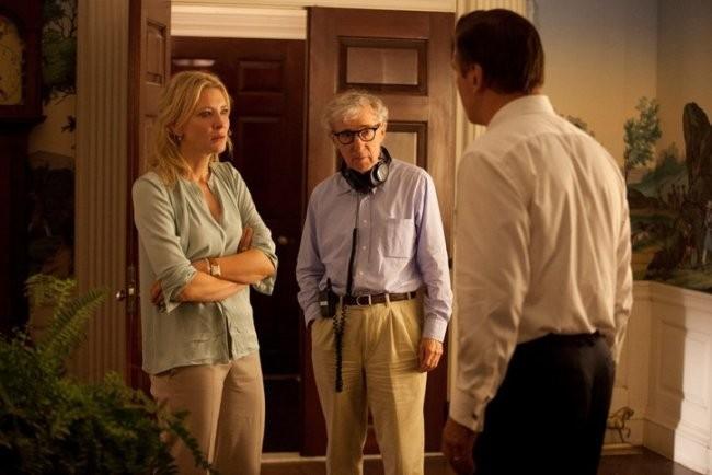 Cate Blanchett, Woody Allen y Alec Baldwin en un momento del rodaje