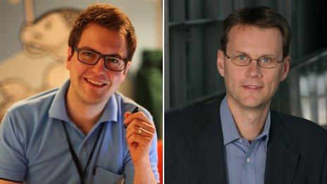 Ex nokiano Kimmo Koivisto (izq) y Matti Vanska, del programa Puente de Nokia