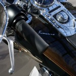 Pope Francis signature is seen on the tank of his 1,585 cc Harley Davidson Dyna Super Glide which is displayed as part of Bonham's Les Grandes Marques du Monde vintage and classic cars sale at the Grand Palais in Paris