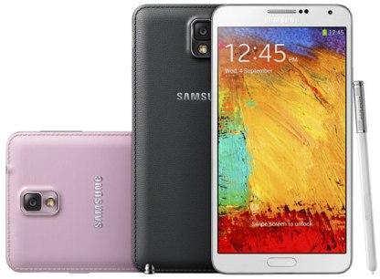 Samsung Galaxy Note 3 en colores negro, blanco y rosa