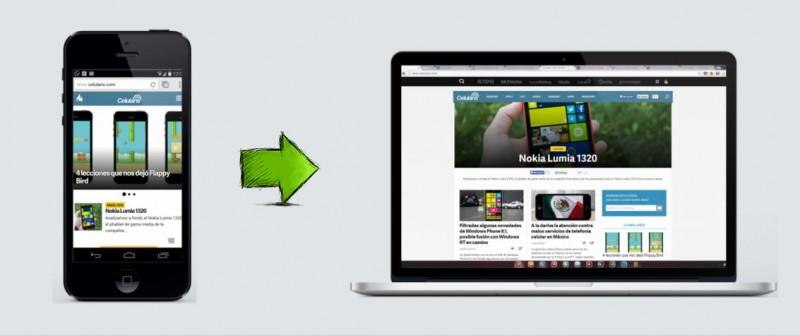 version escritorio navegador movil
