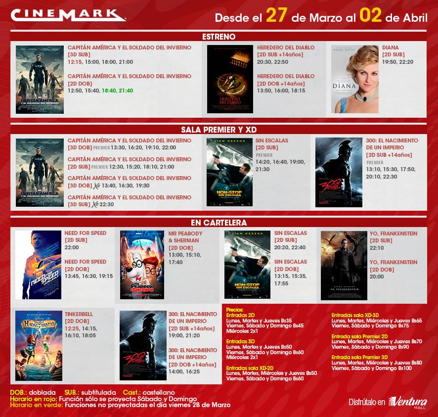 Cartelera de cinemark del jueves 27 de marzo al mi rcoles - Cartelera cine de verano aguadulce ...