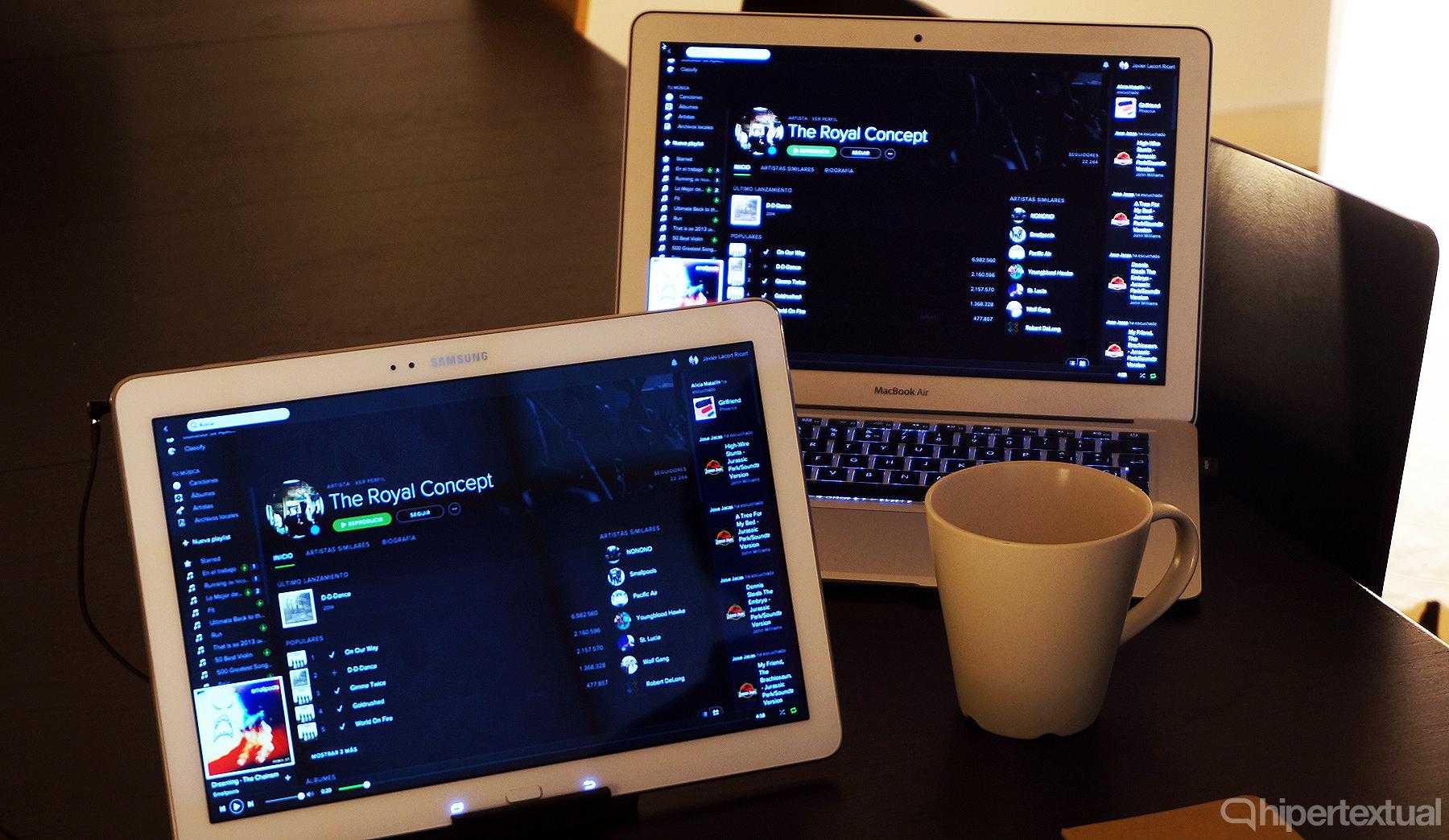 Remote Pro: mirroring entre MacBook Air y Galaxy Tab Pro vía Wi-Fi.