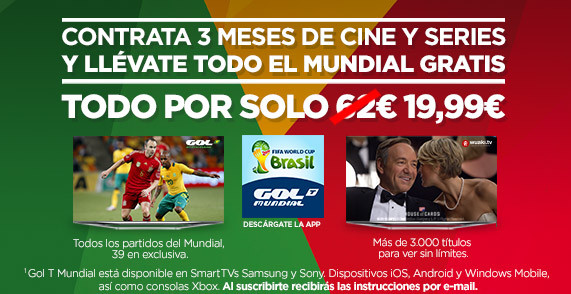 Mundial de Fútbol 2014: Oferta Wuaki.tv y GolT