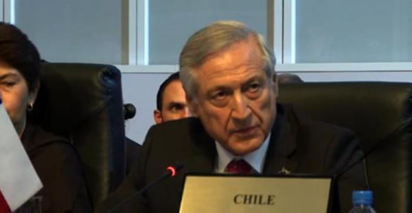 El canciller de Chile, Heraldo Muñoz, durante su intervención en la VII Cumbre de las Américas