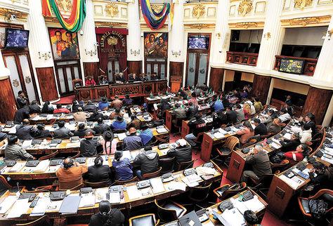 Plenaria. Senadores y diputados ayer durante la sesión en la que se designaron a las nuevas autoridades delTribunalSupremo Electoral (TSE).
