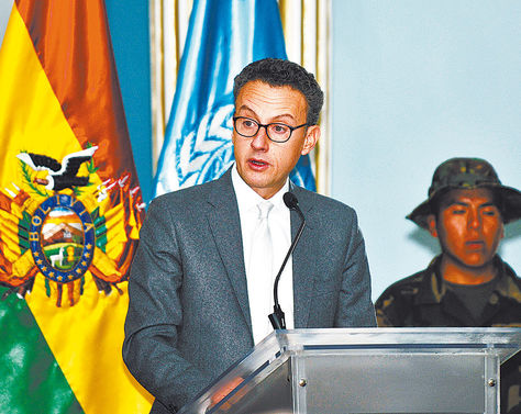 La Paz. El delegado de la UNODC, Antonino de Leo, en una conferencia de prensa en agosto.