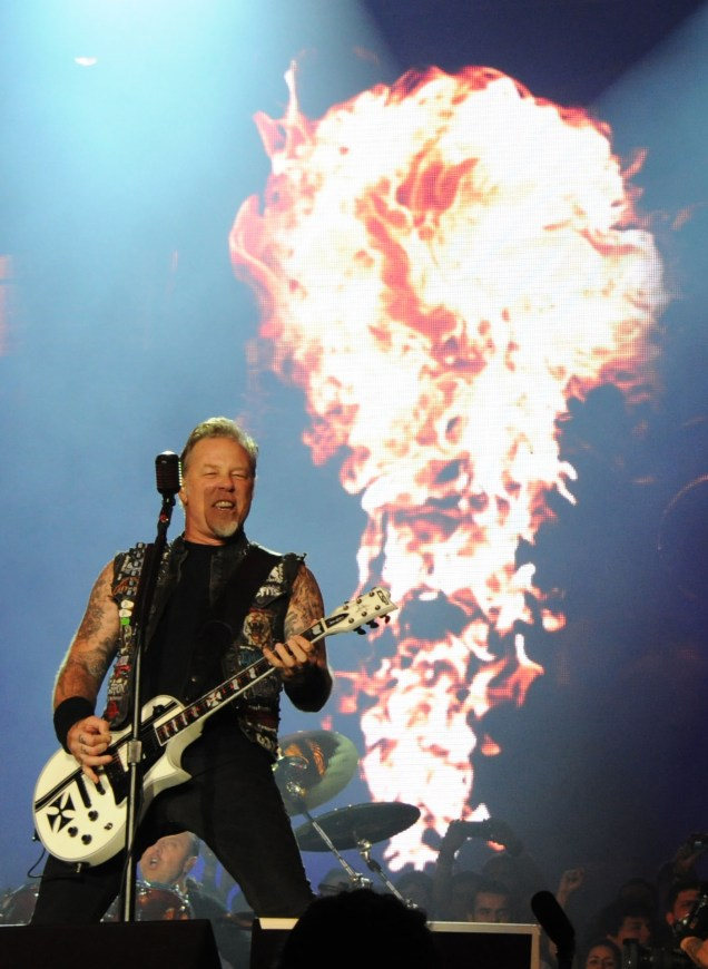 James Hetfield of Metallica performs on the second day of the Rock in Rio music festival in Rio de Janeiro, on September 19, 2015. AFP PHOTO/ TASSO MARCELO