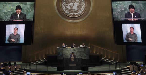 Evo Morales en su intervención en la Asamblea General de la ONU en Nueva York