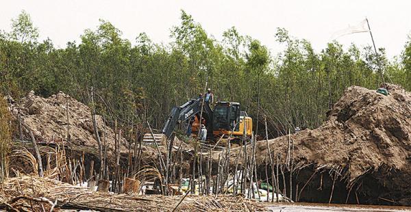 En El Puente, los productores ya están tapando el canal ilegal