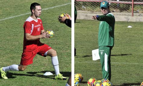Damian Lizio y Julio Cesar Baldivieso en la práctica con la selección boliviana en La Paz