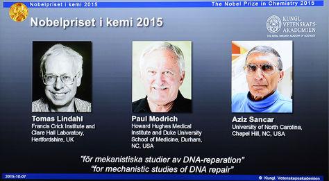 Los galardonados con el Nobel de Química. Foto: AFP