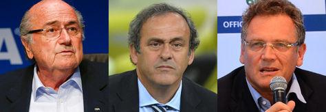 Blatter, Platini y Valcke.