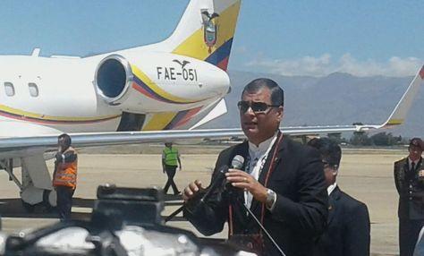 El presidente Rafael Correa llega a Cochabamba. Foto: Angélica Melgarejo