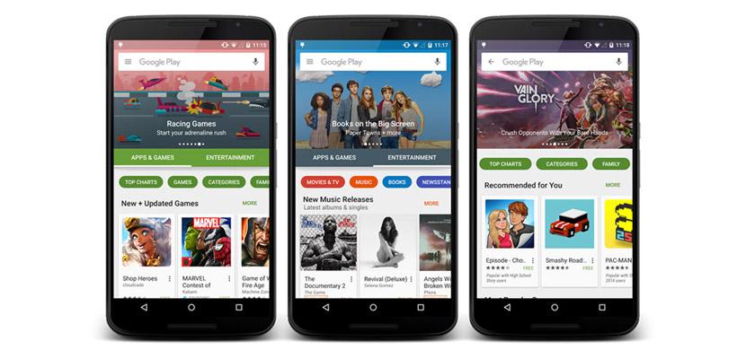 google play store app Google Play Store se renovará con el contenido organizado en apps/videojuegos y entretenimiento