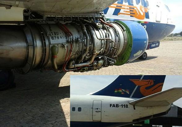 La turbina quemada del avión FAB-118 del TAM, en el aeropuerto de Tarija. - Los Tiempos Foto | Los Tiempos