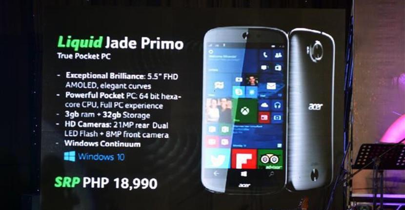 Jade primo precio El Jade Primo de Acer será más barato que el Lumia 950