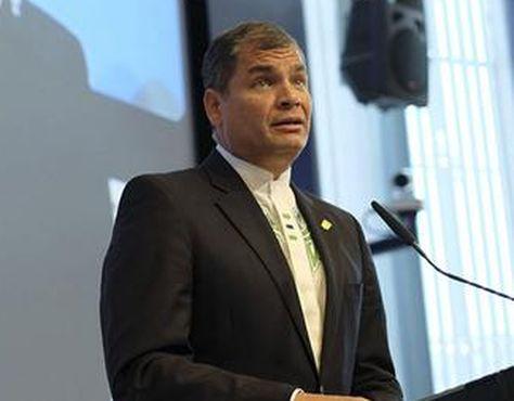 Rafael Correa en su discurso en la Cumbre Celac-UE. Foto: Twitter