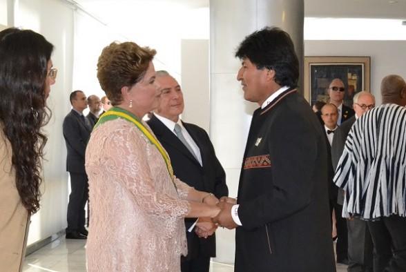 El presidente Evo Morales junto a Dilma Rousseff, a principios de año. | Foto archivo -   Abi Agencia