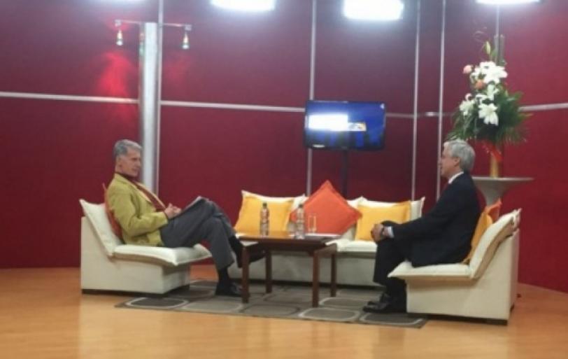 El vicepresidente ÁLvaro García Linera en la entrevista en FidesTv.