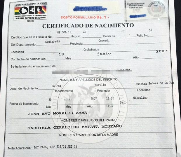 El certificado de nacimiento del supuesto hijo (oculto) de Evo y ...