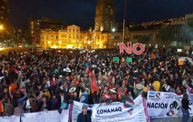 Masiva manifestación del No estuvo marcada por las muertes ocurridas en El Alto