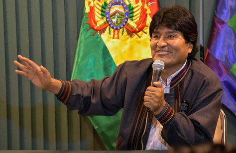 El presidente Evo Morales en conferencia en Huajchilla