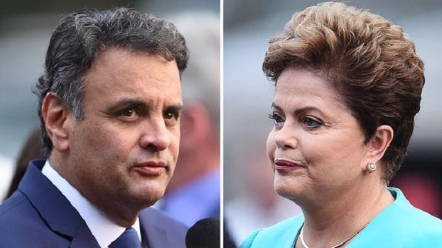 Los candidatos a la Presidencia de Brasil, Aécio Neves (PSDB) y Dilma Rousseff (PT) (Felipe Cotrim/VEJA.com)