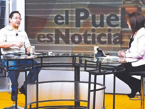 La Paz. El ministro de Economía, Luis Arce, ayer durante una entrevista en la estatal red Patria Nueva.