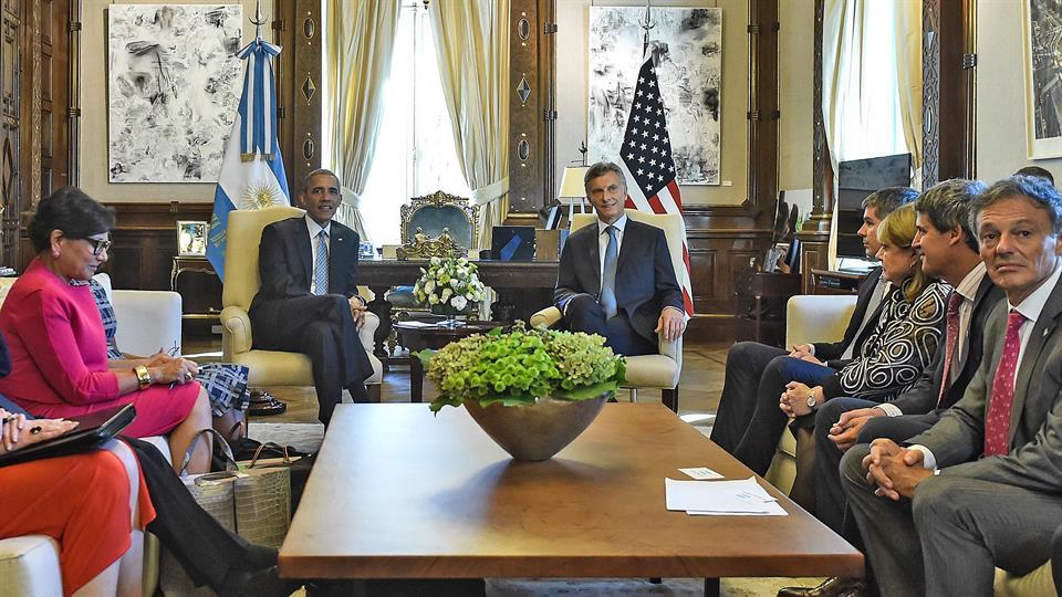 Mauricio Macri recibió a Barack Obama en la Casa Rosada. Foto: AFP