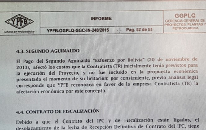 YPFB pagó el doble aguinaldo a favor de empresa española contratada para la planta Gran Chaco