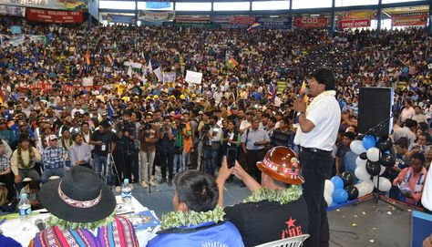 El presidente Evo Morales en la cumbre del Conalcam en Cochabamba