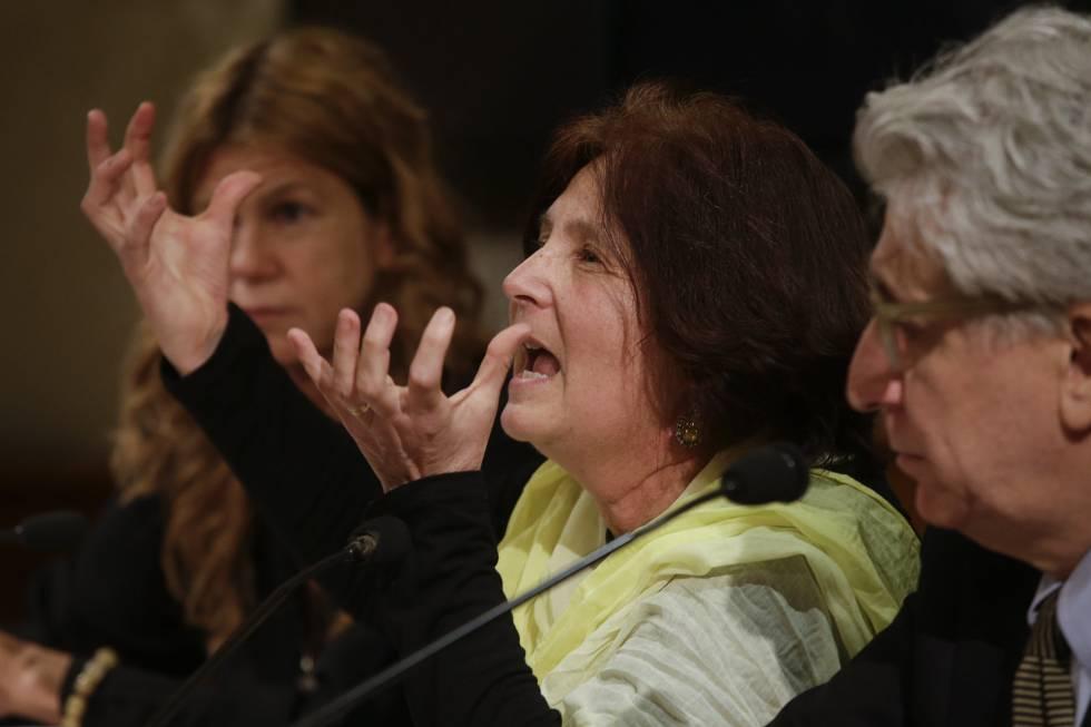 La madre de la víctima el día 29 en el Senado en Roma.