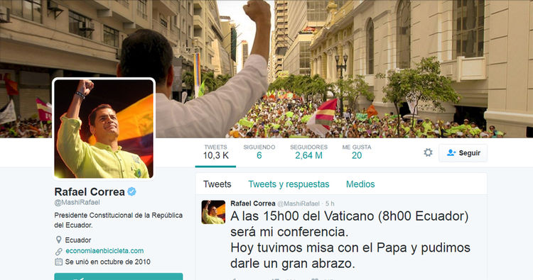 Cuenta Rafael Correa, presidente de Ecuador: @MashiRafael